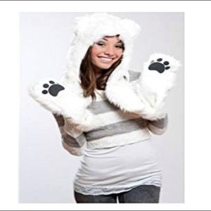Furry polar bear hat w/ attached paw scarf/mittens
